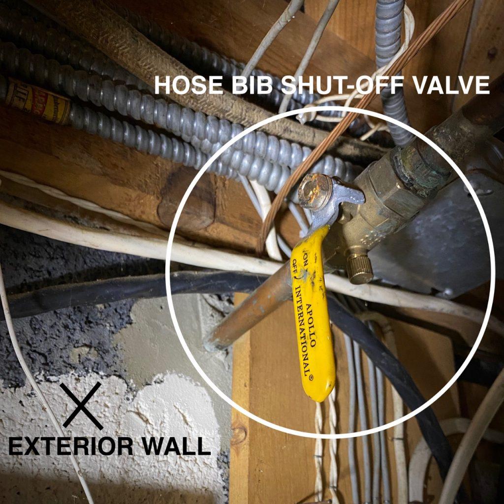 Hose bib shut-off valve in basement.