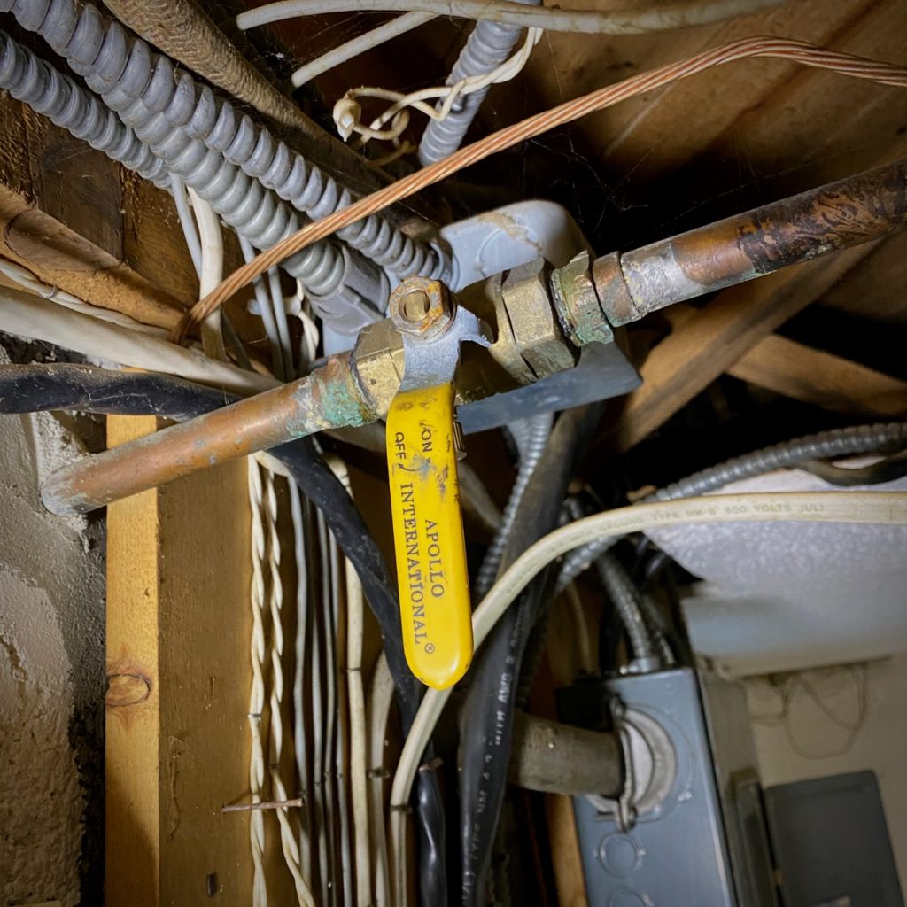 Basement hose bib shut-off valve.